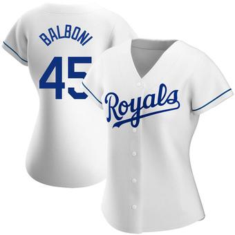 Women's Steve Balboni Kansas City White Authentic Home Baseball Jersey (Unsigned No Brands/Logos)