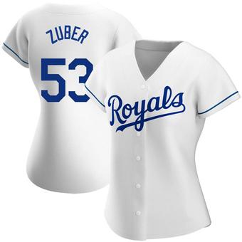 Women's Tyler Zuber Kansas City White Authentic Home Baseball Jersey (Unsigned No Brands/Logos)