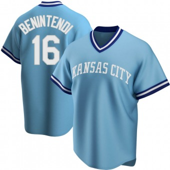 Youth Andrew Benintendi Kansas City Light Blue Replica Road Cooperstown Collection Baseball Jersey (Unsigned No Brands/Logos)
