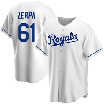 Youth Angel Zerpa Kansas City White Replica Home Baseball Jersey (Unsigned No Brands/Logos)