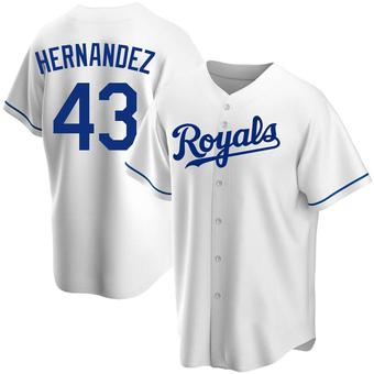 Youth Carlos Hernandez Kansas City White Replica Home Baseball Jersey (Unsigned No Brands/Logos)
