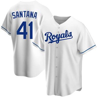 Youth Carlos Santana Kansas City White Replica Home Baseball Jersey (Unsigned No Brands/Logos)