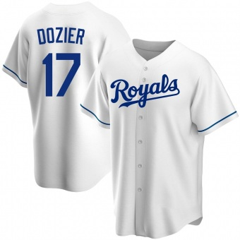 Youth Hunter Dozier Kansas City White Replica Home Baseball Jersey (Unsigned No Brands/Logos)