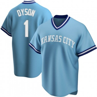Youth Jarrod Dyson Kansas City Light Blue Replica Road Cooperstown Collection Baseball Jersey (Unsigned No Brands/Logos)