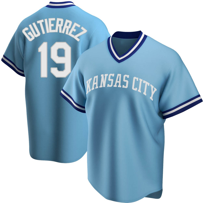 Youth Kelvin Gutierrez Kansas City Light Blue Replica Road Cooperstown Collection Baseball Jersey (Unsigned No Brands/Logos)