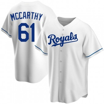 Youth Kevin McCarthy Kansas City White Replica Home Baseball Jersey (Unsigned No Brands/Logos)