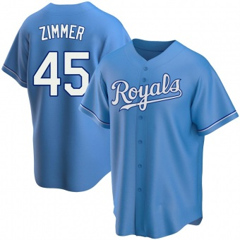 Youth Kyle Zimmer Kansas City Light Blue Replica Alternate Baseball Jersey (Unsigned No Brands/Logos)