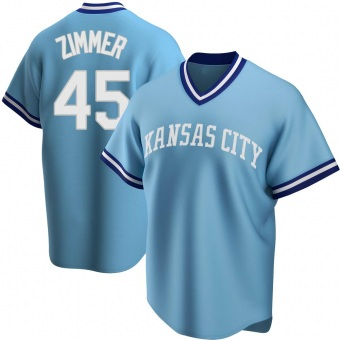 Youth Kyle Zimmer Kansas City Light Blue Replica Road Cooperstown Collection Baseball Jersey (Unsigned No Brands/Logos)