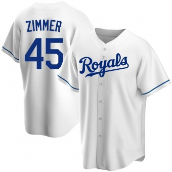Youth Kyle Zimmer Kansas City White Replica Home Baseball Jersey (Unsigned No Brands/Logos)