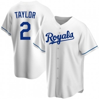 Youth Michael Taylor Kansas City White Replica Home Baseball Jersey (Unsigned No Brands/Logos)