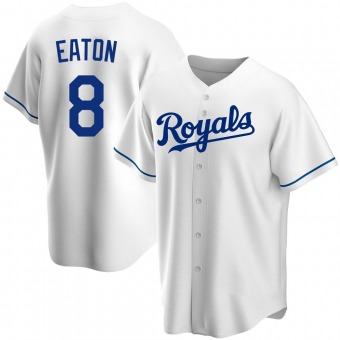 Youth Nathan Eaton Kansas City White Replica Home Baseball Jersey (Unsigned No Brands/Logos)