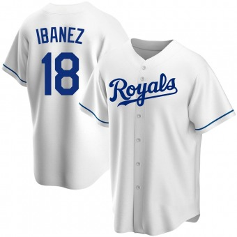 Youth Raul Ibanez Kansas City White Replica Home Baseball Jersey (Unsigned No Brands/Logos)