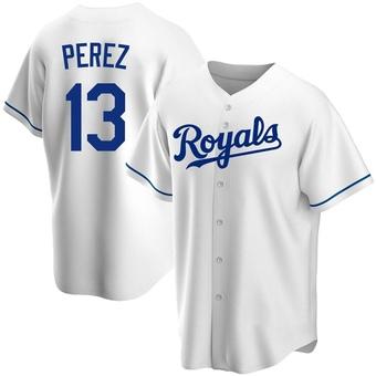 Youth Salvador Perez Kansas City White Replica Home Baseball Jersey (Unsigned No Brands/Logos)