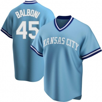 Youth Steve Balboni Kansas City Light Blue Replica Road Cooperstown Collection Baseball Jersey (Unsigned No Brands/Logos)