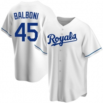 Youth Steve Balboni Kansas City White Replica Home Baseball Jersey (Unsigned No Brands/Logos)