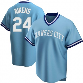 Youth Willie Aikens Kansas City Light Blue Replica Road Cooperstown Collection Baseball Jersey (Unsigned No Brands/Logos)