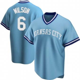 Youth Willie Wilson Kansas City Light Blue Replica Road Cooperstown Collection Baseball Jersey (Unsigned No Brands/Logos)